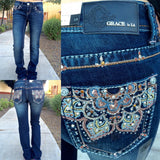 GRACE IN L.A. LOTUS BOOTCUT JEANS - decadenceboutique