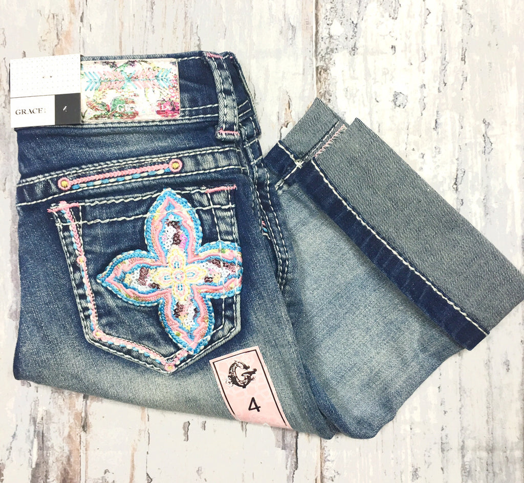 GRACE IN L.A. LITTLE GIRLS SPRING BLOOM CAPRI JEANS - decadenceboutique - 1