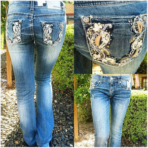 GRACE IN L.A. HALF MOON BOOTCUT JEANS - decadenceboutique