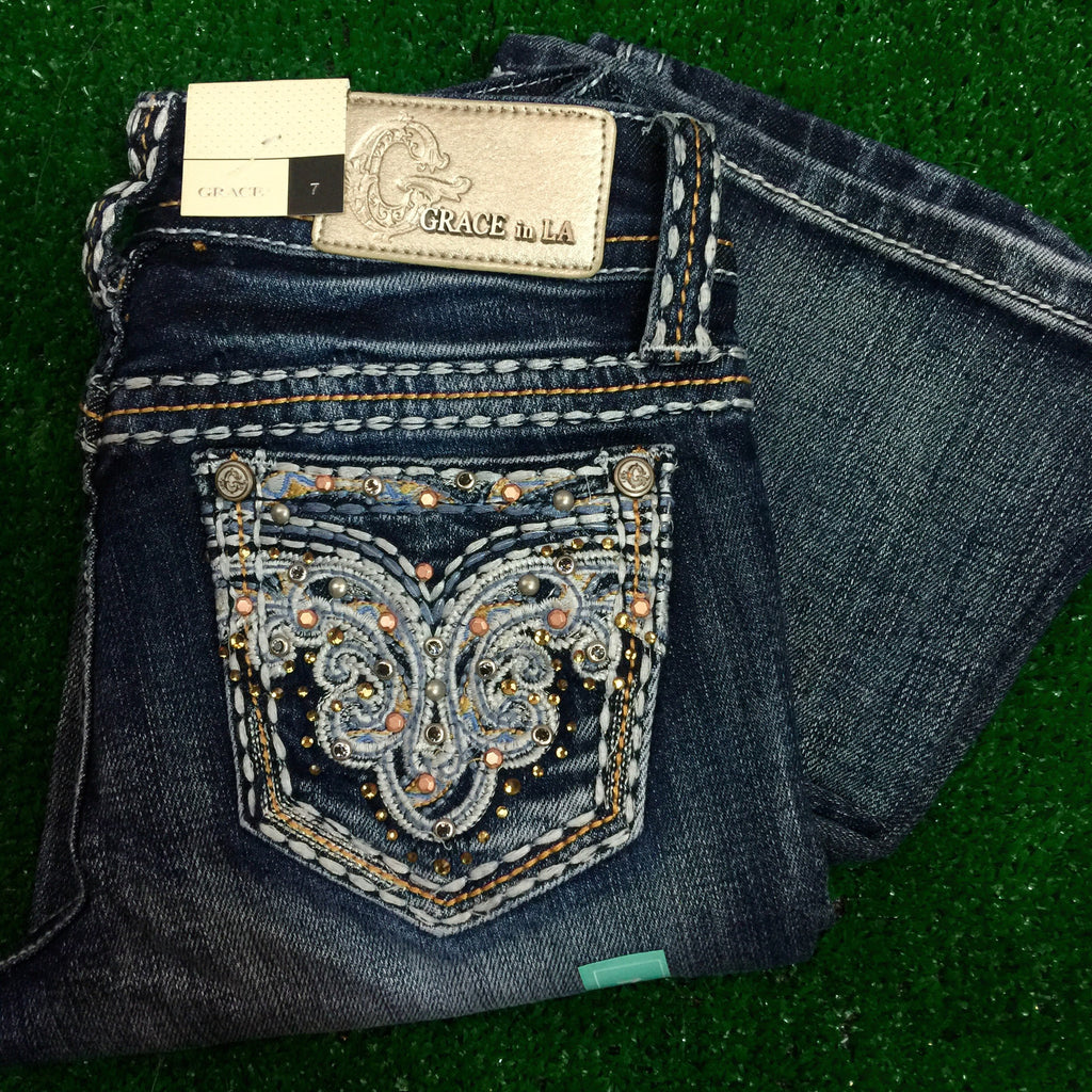 GRACE IN L.A. LITTLE GIRLS DROP OF RHINESTONES  BOOTCUT JEANS - decadenceboutique