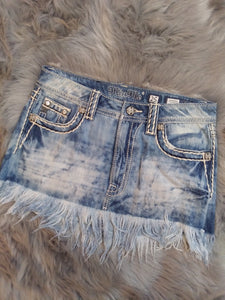 MISS ME JS5012i14 DENIM FRAYED SKIRT