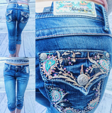 GRACE IN L.A PAISLEY CHARM CAPRI JEANS - decadenceboutique - 1