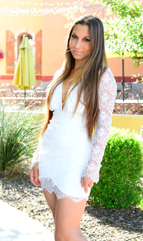 LAST FLING LACE DRESS IN WHITE