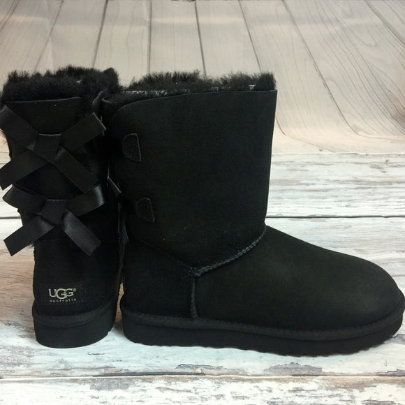 UGG BAILEY BOW SHORT BOOTS IN BLACK - decadenceboutique