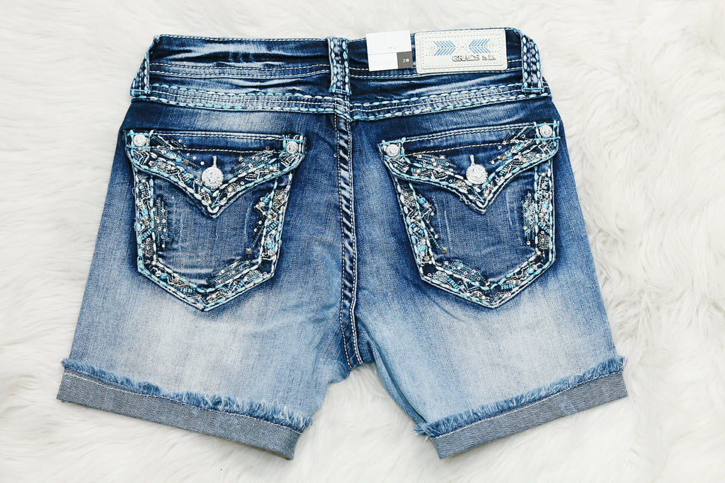GRACE IN L.A. GLITZY SKETCH EASY ROLLED SHORTS - decadenceboutique - 1