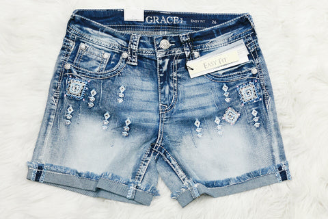 GRACE IN L.A. ANCIENT RUINS EASY ROLLED SHORTS