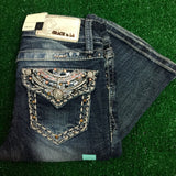 GRACE IN L.A. LITTLE GIRLS GLITZY SCROLL BOOTCUT JEANS - decadenceboutique