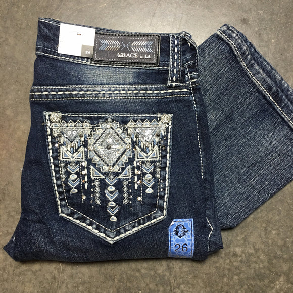 GRACE IN L.A. ANCIENT CARVINGS EASY BOOTCUT JEANS - decadenceboutique