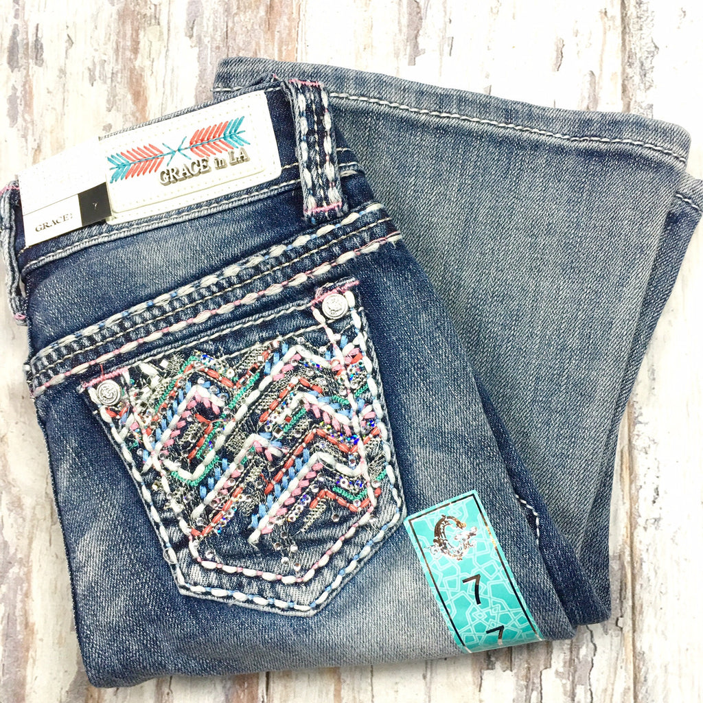 GRACE IN L.A. LITTLE GIRLS ROCKY POINT BOOTCUT JEANS - decadenceboutique