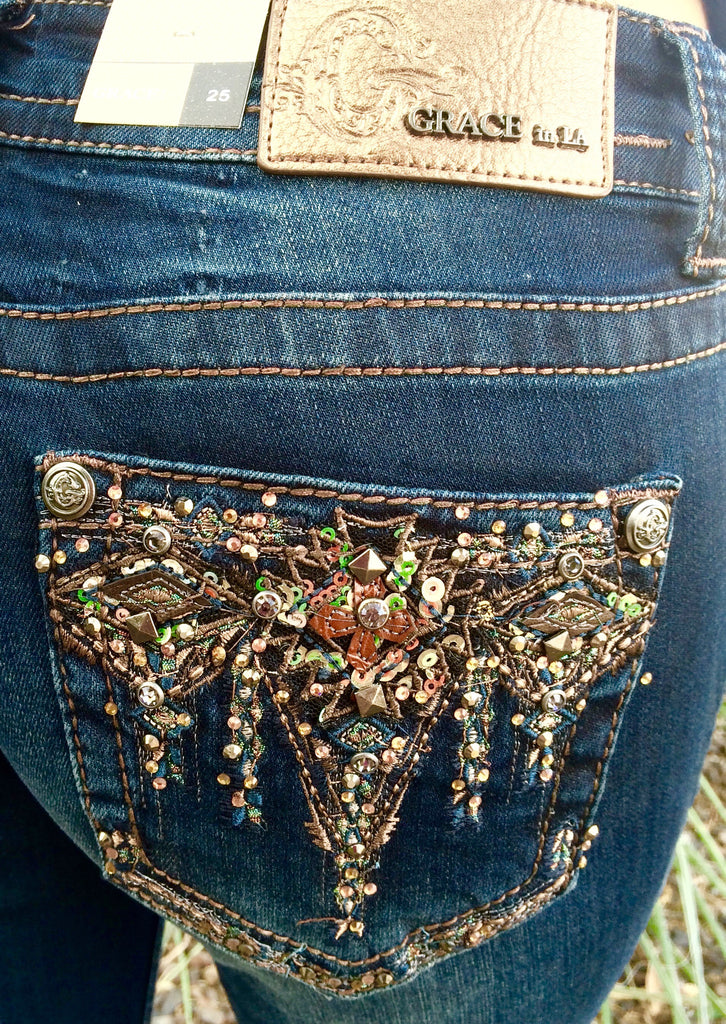 GRACE IN L.A. BOHEMIAN BOOTCUT JEANS - decadenceboutique - 1