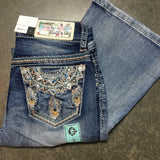 GRACE IN L.A. LITTLE GIRLS FREE SPIRIT BOOTCUT JEANS - decadenceboutique