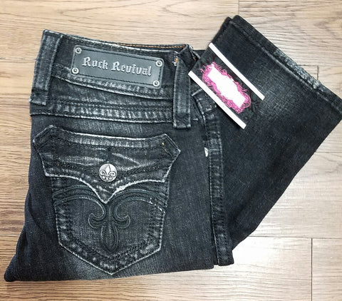 ROCK REVIVAL DEBORAH BOOTCUT BLACK JEANS