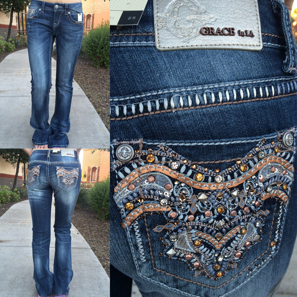 GRACE IN L.A. OCTOBER FEST BOOTCUT JEANS - decadenceboutique