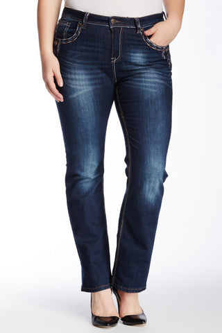 GRACE IN L.A GLITZY DIRECTIONS PLUS SIZE STRAIGHT JEANS