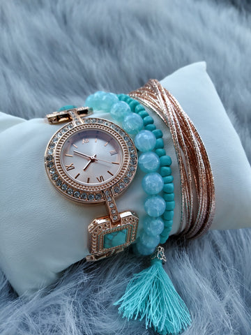 Precious Gem Gold Watch set