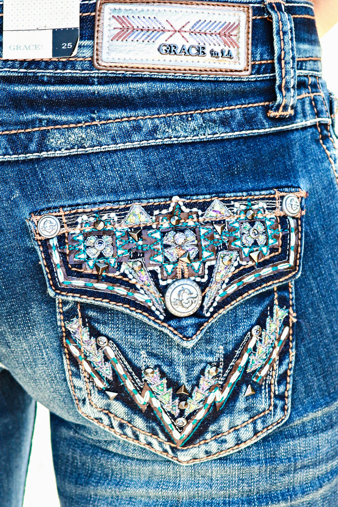 GRACE IN L.A. SOUTH MOUNTAIN BOOTCUT JEANS - decadenceboutique - 1