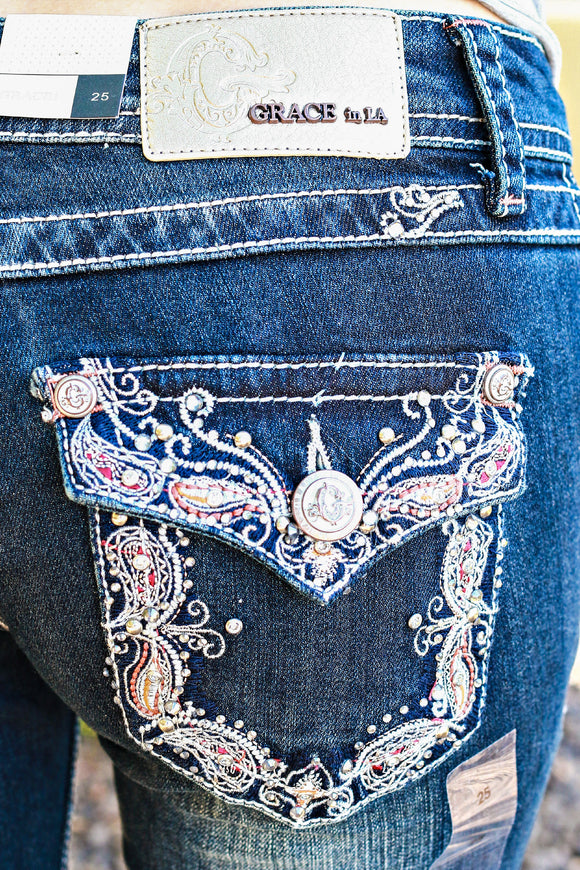 GRACE IN L.A. PAISLEY BORDER BOOTCUT JEANS - decadenceboutique - 1