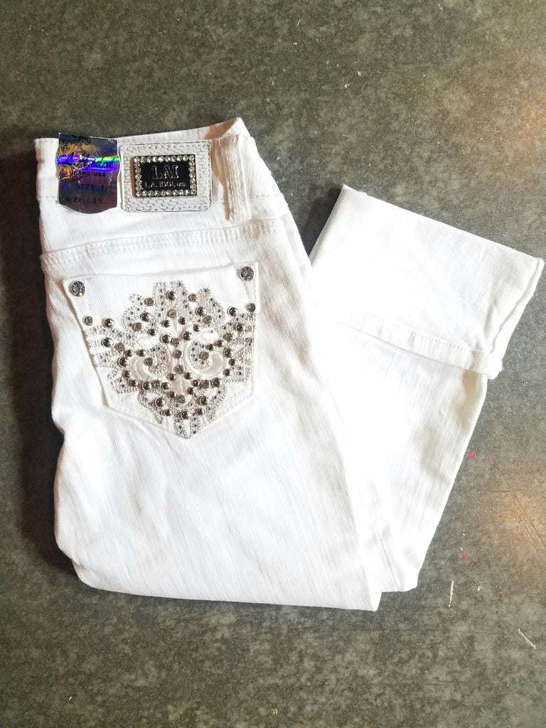 L.A. IDOL WHITE GLISTENING CAPRI - decadenceboutique