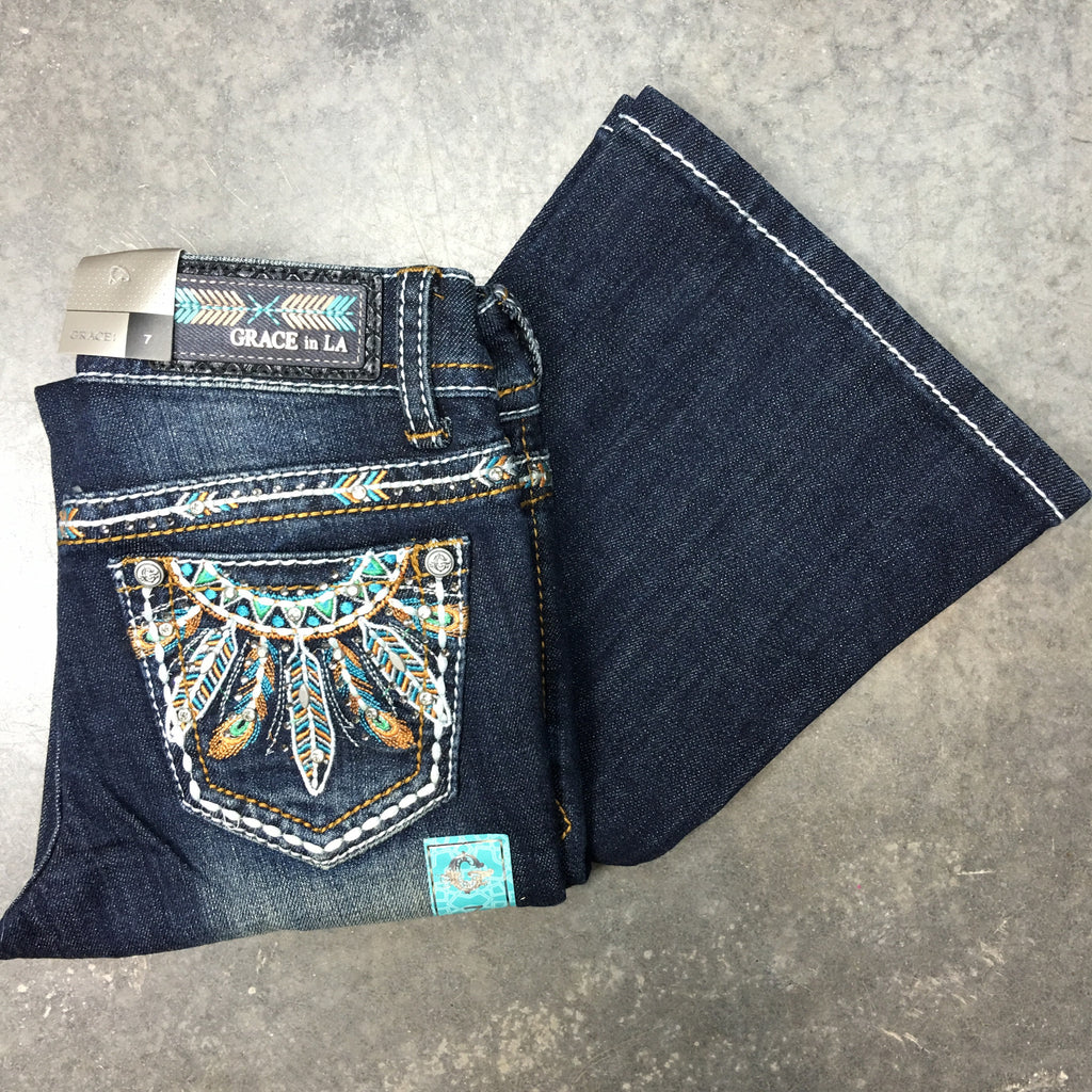 GRACE IN L.A. LITTLE GIRLS SEDONA VIBES BOOTCUT JEANS - decadenceboutique