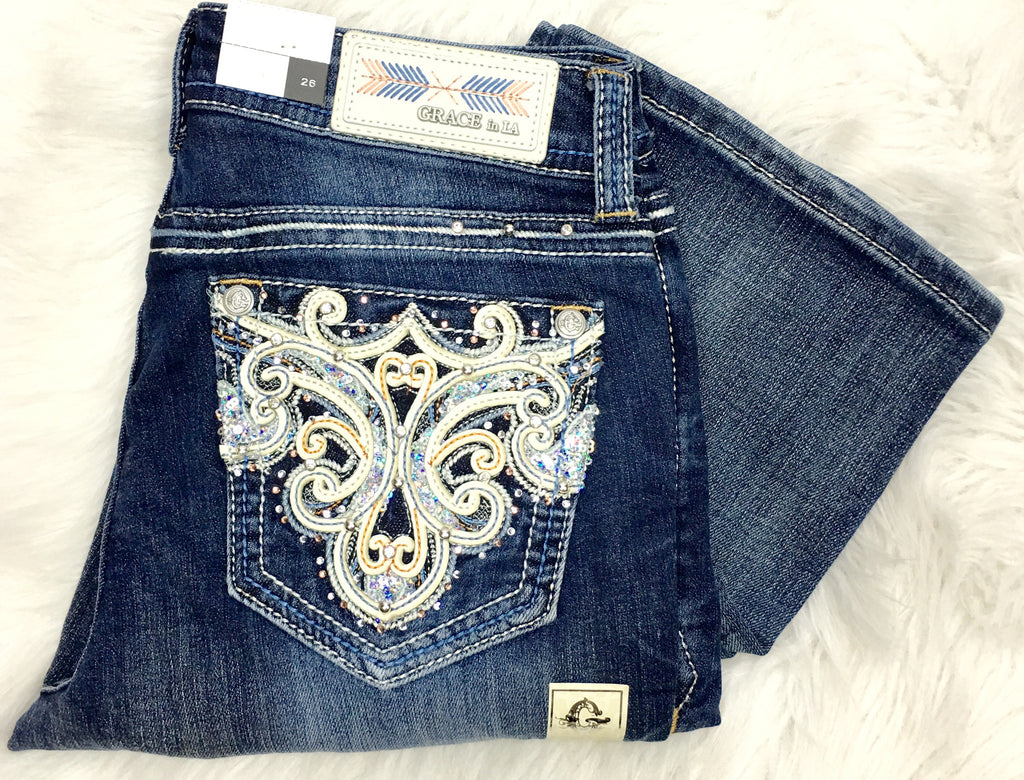GRACE IN L.A CRYSTAL GAZE EASY BOOTCUT JEANS - decadenceboutique