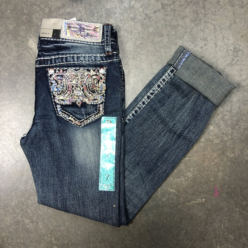 GRACE IN L.A. LITTLE GIRLS DESERT MOONLIGHT BOOTCUT JEANS - decadenceboutique
