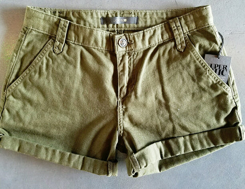 JOE'S SUPER CHIC OLIVE ROLLED SHORTS