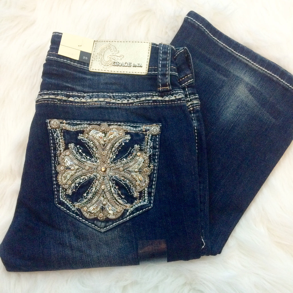GRACE IN L.A ROYAL CROSS BOOTCUT JEANS - decadenceboutique