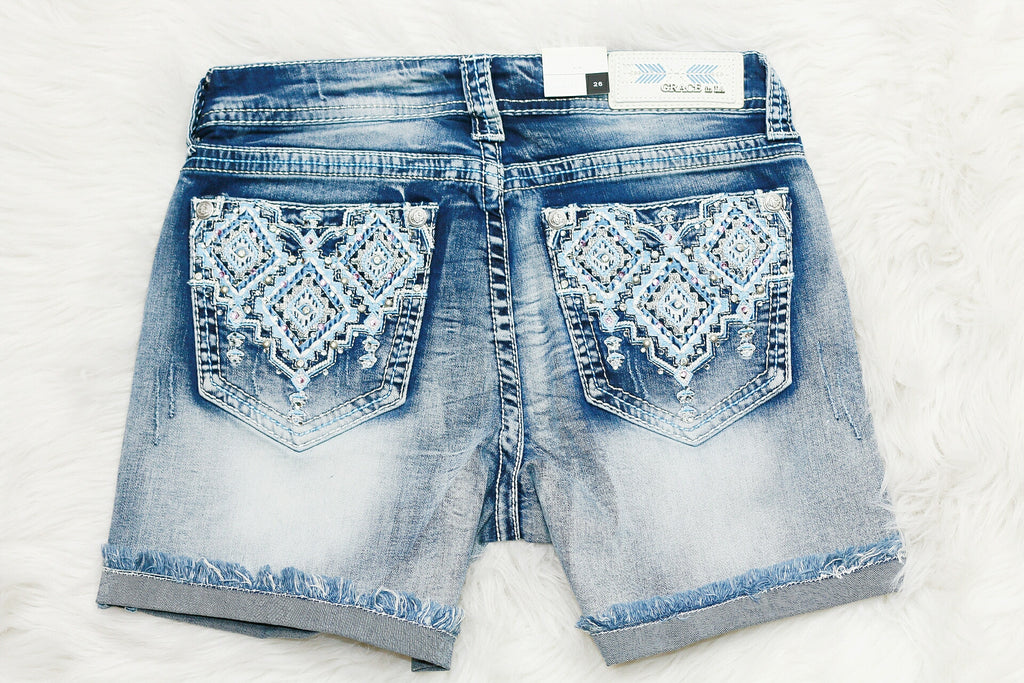 GRACE IN L.A. ANCIENT RUINS EASY ROLLED SHORTS - decadenceboutique - 1