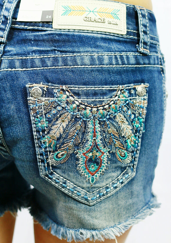 GRACE IN L.A. SHOW YOUR FEATHERS SHORTS - decadenceboutique - 1
