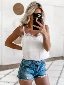 WHISKED AWAY WHITE LACE CAMI