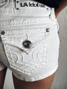 L.A. Idol White Classic Clean stitch Shorts