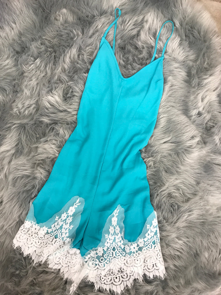 KEEP IN TOUCH ROMPER TEAL