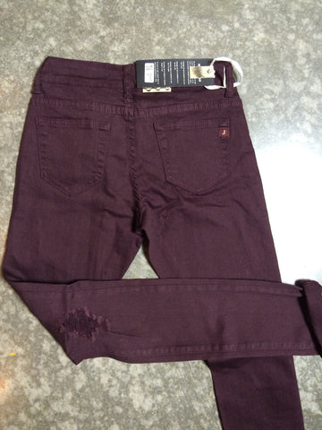 NEW ADVENTURE DISTRESSED SKINNY JEANS IN WINE
