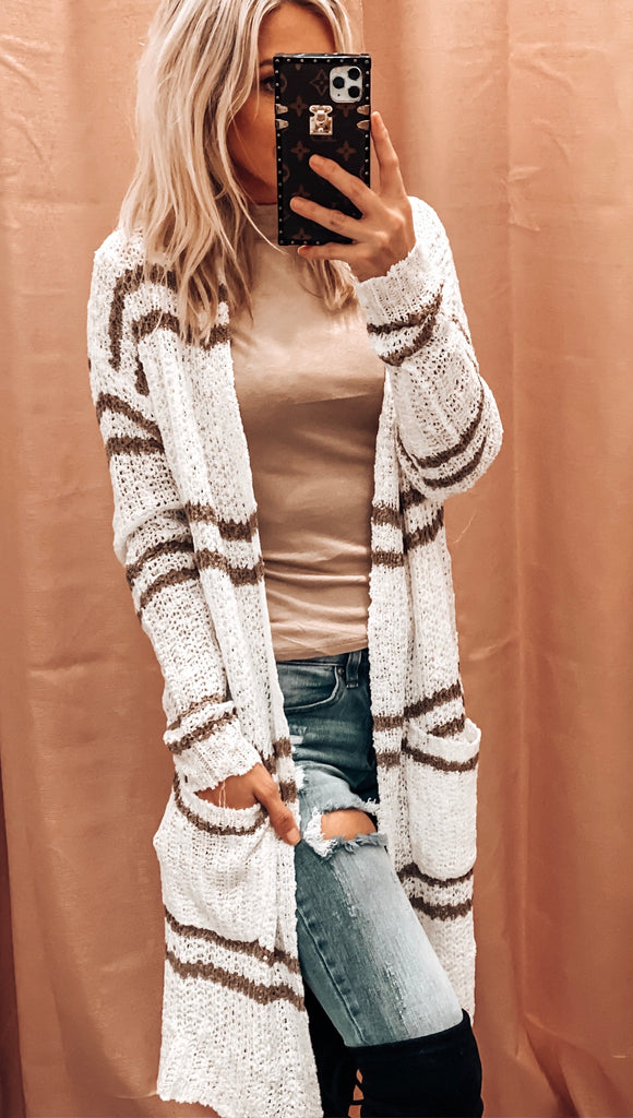 BABY IT'S COLD OUTSIDE STRIPED CARDI IN CREAM