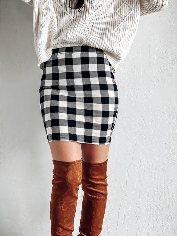 BE MERRY BUFFALO PLAID SKIRT