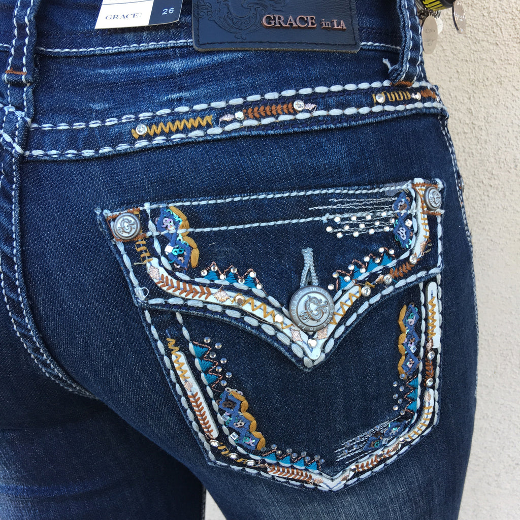 GRACE IN L.A. SIMPLY WESTERN EASY BOOTCUT JEANS - decadenceboutique - 1