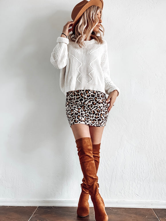 DOOR BUSTER* LEOPARD SKIRT IN TAN