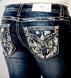 MISS ME GLITZY WING BOOTCUT JEANS