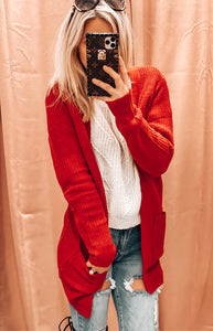 CHRISTMAS MORNING CARDI IN RED