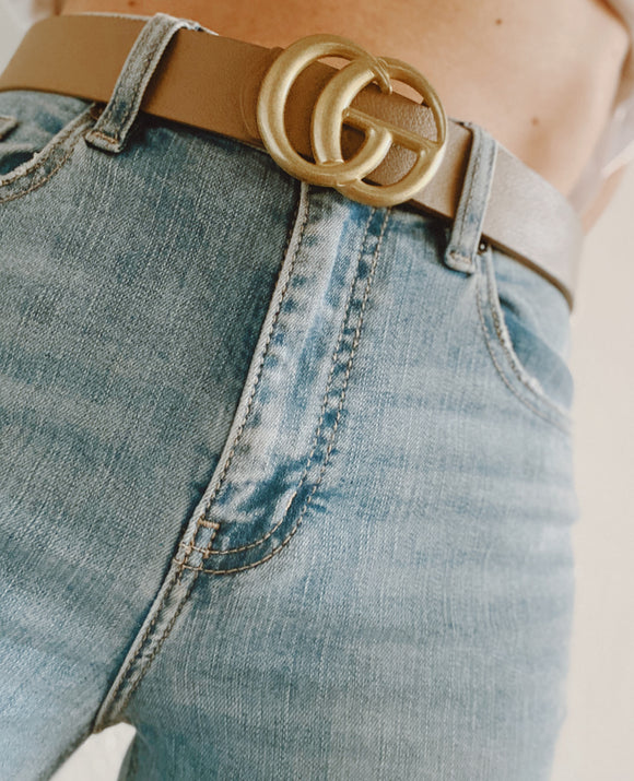 Matte Gold Goal Getter Belt in Nude