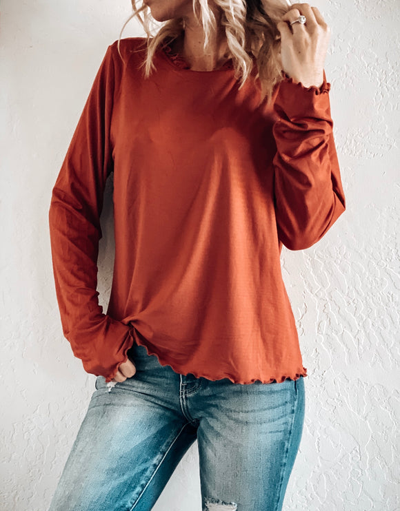 FOR THE FRILL OF IT MOCK NECK TOP IN RUSTY MAUVE