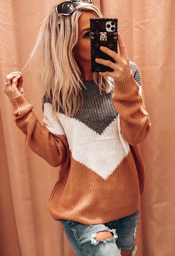 ON POINT OVER SIZED CHEVRON SWEATER IN MAUVE MULTI