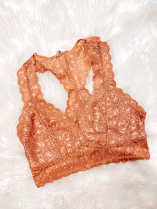 WILD & FREE LACE RACERBACK BRALETTE IN ROSE GOLD