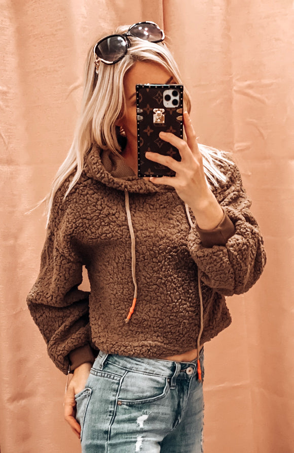 HOT COCOA NIGHTS SHERPA CROP HOODIE