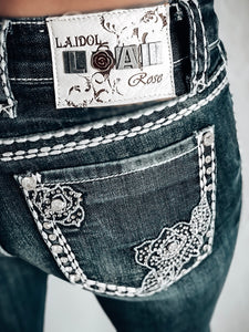 L.A. IDOL DELICATE FLOWER BOOTCUT JEANS