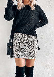 DOOR BUSTER* LEOPARD SKIRT IN SILVER