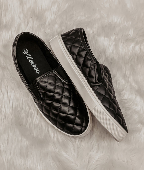 PAST PRESENT AND FUTURE PATENT QUILTED SLIP ONS