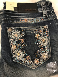 GRACE IN L.A FLORAL DREAMS BOOTCUT JEANS