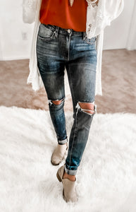 SEVILLE HIGH RISE ANKLE SKINNY DARK WASH