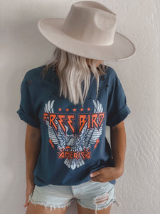 FREE BIRD DISTRESSED ROCK TEE